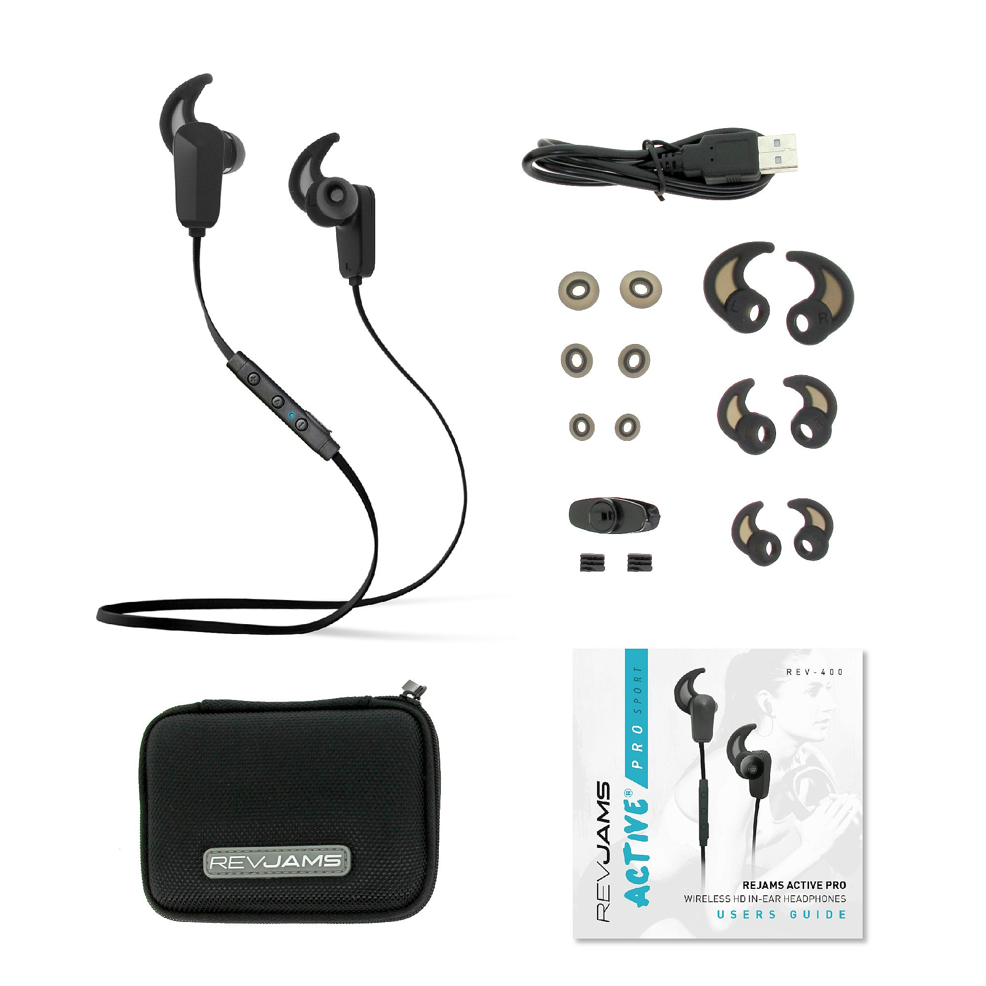 revjams active pro wireless in ear bluetooth ear buds water resistant and sweat proof with. Black Bedroom Furniture Sets. Home Design Ideas